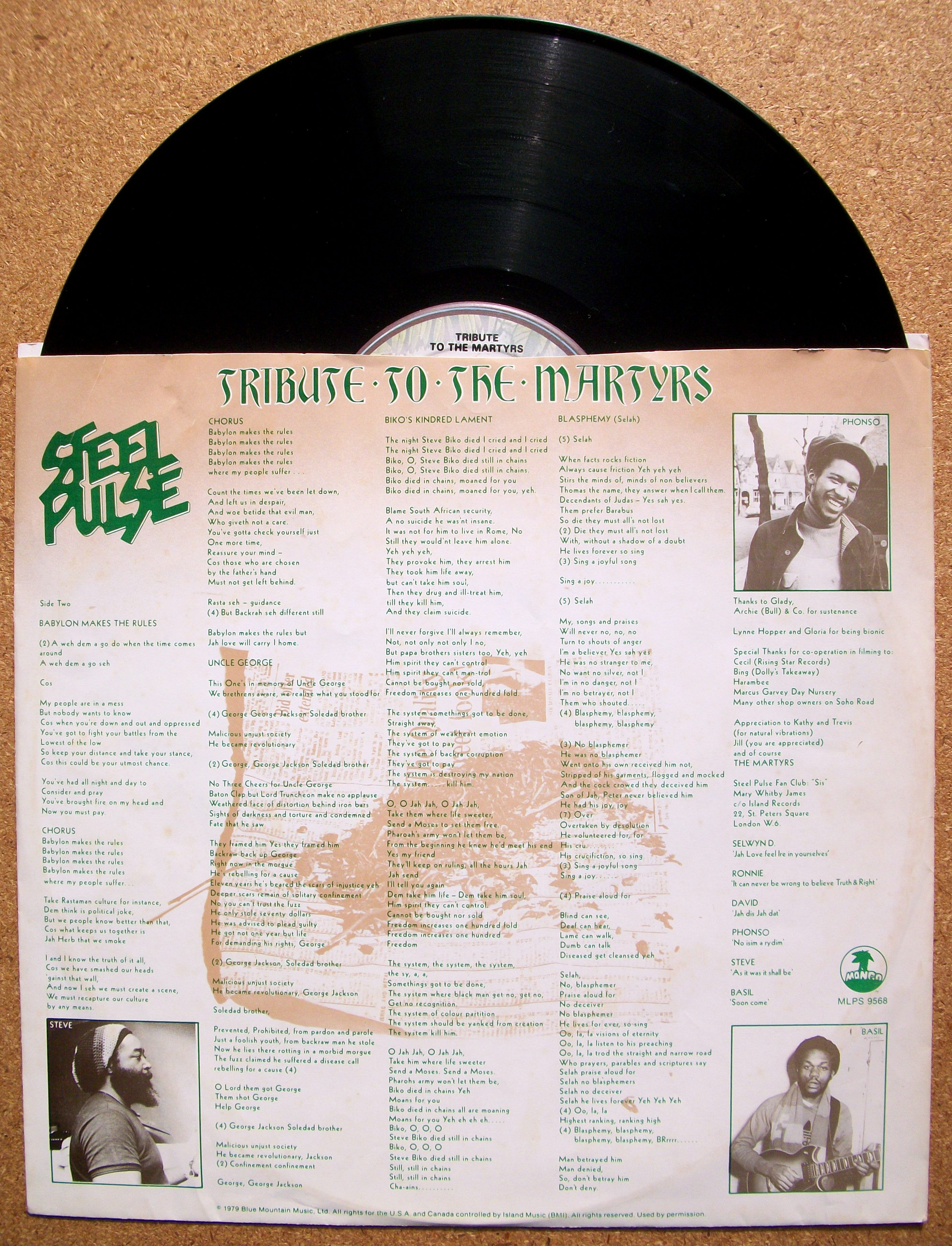 Sinister Vinyl Collection Steel Pulse Tribute To The